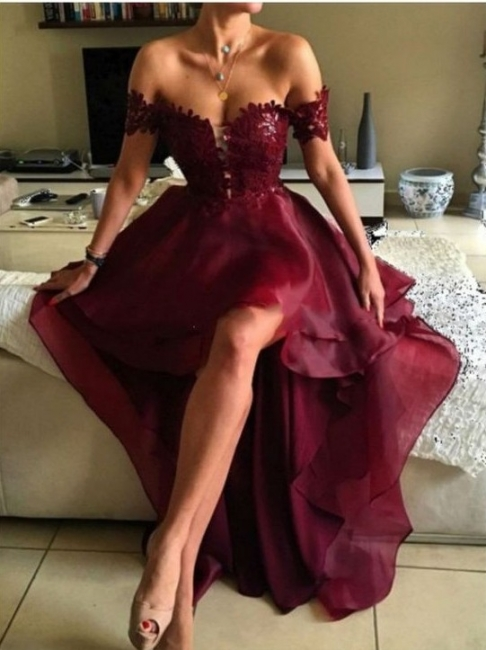 Wine Red Cocktail Dresses Short Long With Lace A Line Organza Prom Dresses Party Dresses