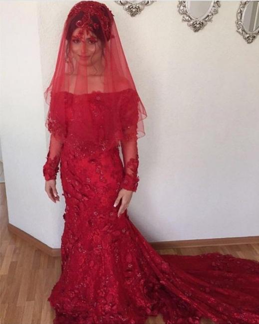 Neue Rote Abendkleider Lang Ärmel Spitze Abiballkleider Abendmoden Online
