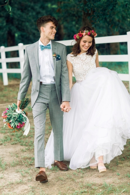 White wedding dresses with lace beaded organza bridal wedding dresses