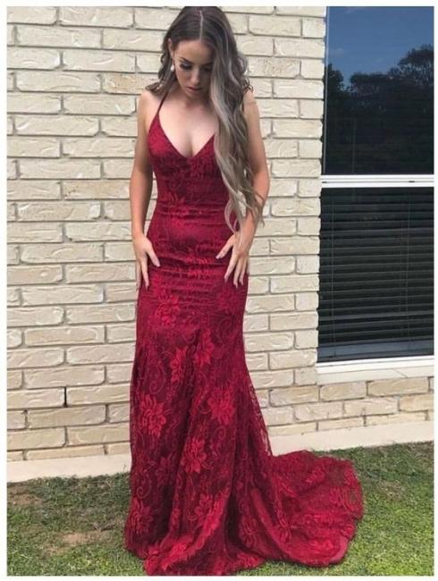 Fashion Abendkleid Lang Rot   Abiballkleid Spitze Günstig Online
