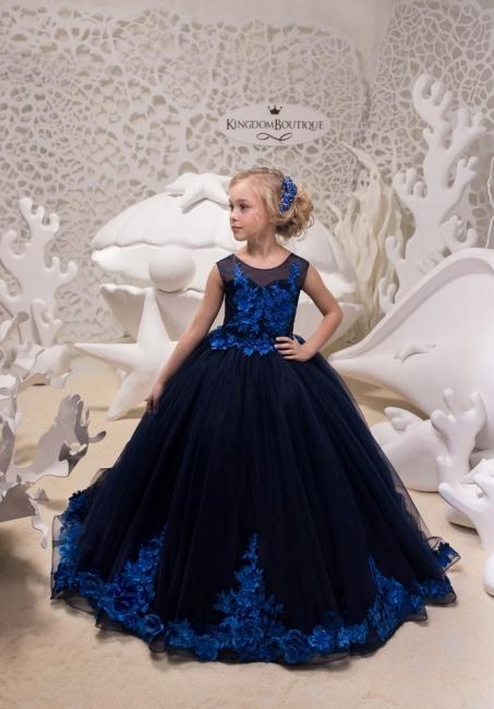 Elegante Blumenmädchenkleider Günstig | Kleider für Blumenmädchen Blau
