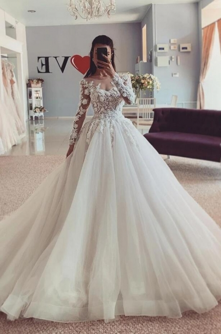 Luxury wedding dresses A line | Lace Sleeves Wedding Dresses Bridal Online