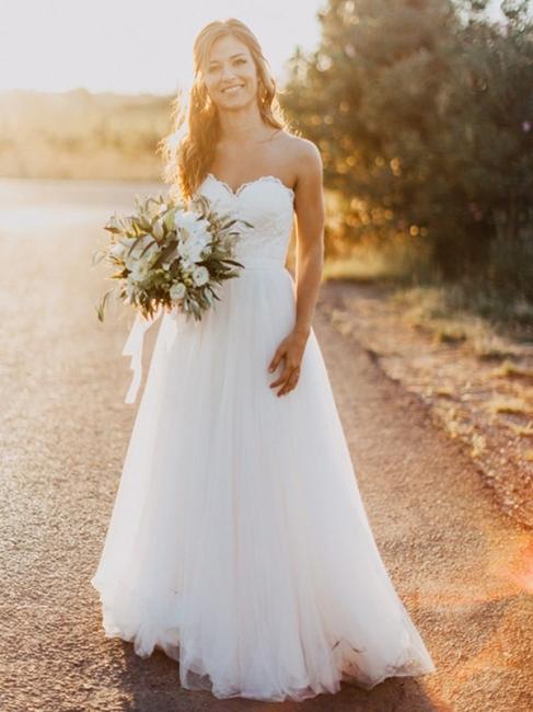 Elegante Hochzeitskleider Spitze und Schlicht Etuikleider Tüll Brautkleider