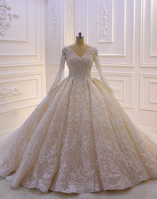 Designer Brautkleider Luxus | Spitze Hochzeitskleider mit Ärmel