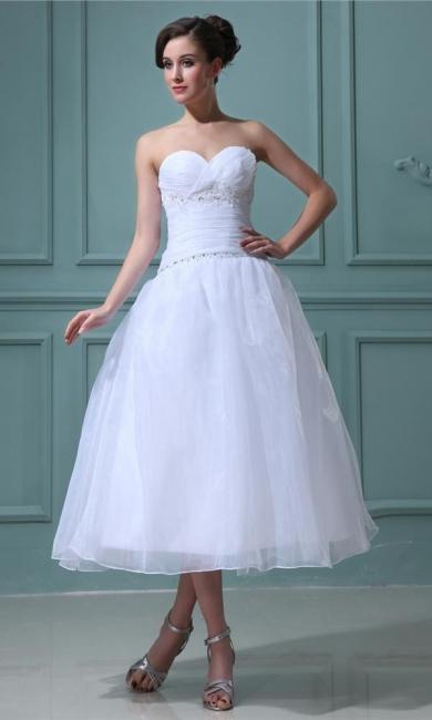 Weiß Brautkleider Kurz A Linie Organza Hochzeitskleider Günstig
