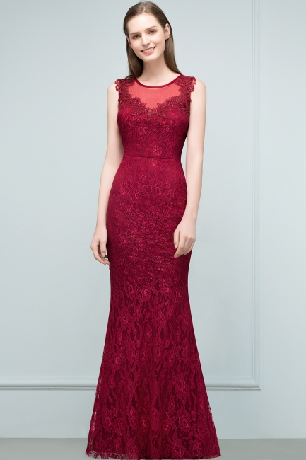 Wine red evening dresses long cheap lace mermaid evening wear for sale