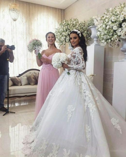 Luxury Weiße Brautkleider Mit Ärmel A-Linie Hochzeitskleider Günstig Organza