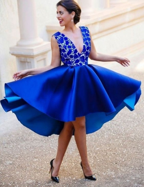 King Blue Short Cocktail Dresses With Lace V Neck A Line Evening Dresses Party Dresses