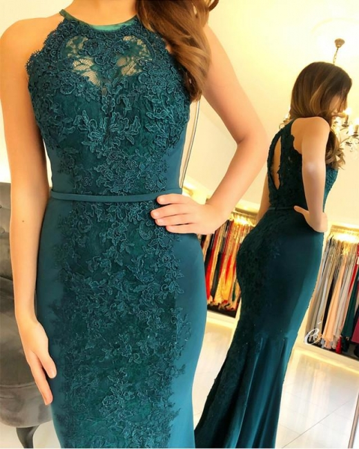 New Evening Dresses Long Lace Green Chiffon Dresses Evening Wear
