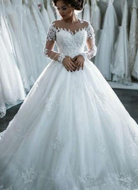 Günstige Lange Ärmel Brautkleider Weiße Mit Spitze Brautmoden Tüll Nachmäßig Anfertigen