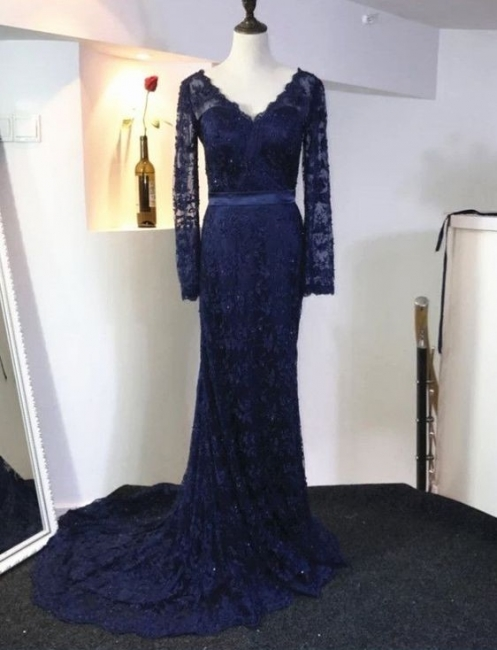 Elegant Dark Blue Evening Dresses Long Sleeves Lace Evening Wear Prom Dresses Cheap