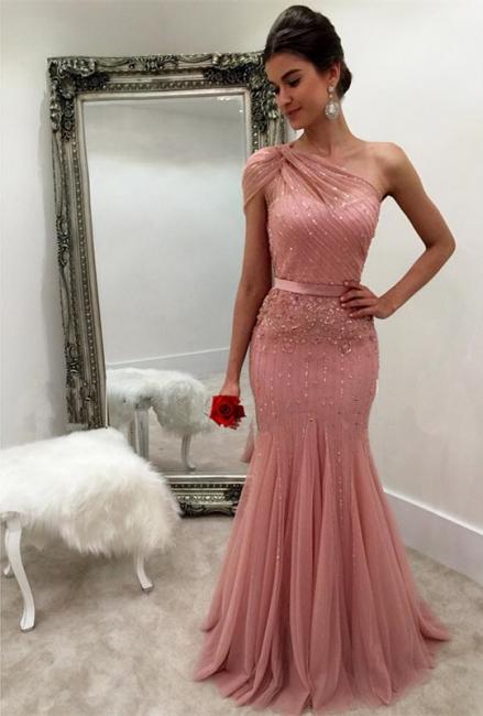 Schicke Abendkleider Lang Rosa Ein Schulter Meerjungfrau Tüll Perlen Abiballkleid Abendmoden