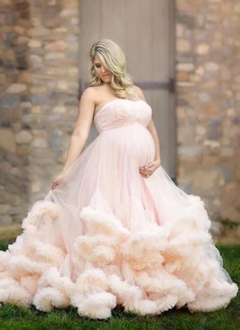 Günstige Brautkleider für Mollige Rosa Tüll Hochzeitskleid für Schwangere