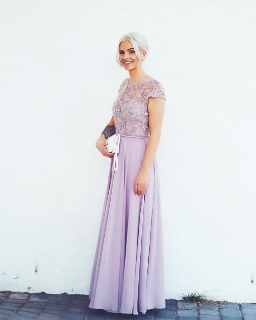 Elegante Abendkleider Lang Günstig | Chiffon Abendkleid Flieder | Lila Kleid
