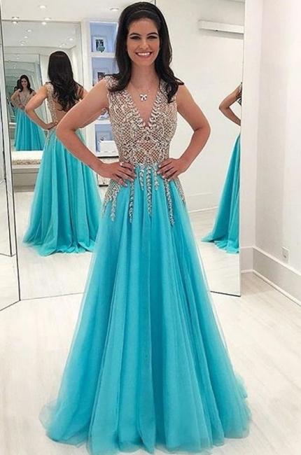 Elegante Abendkleider Blau | Chiffon Kleider Abiballkleider Online