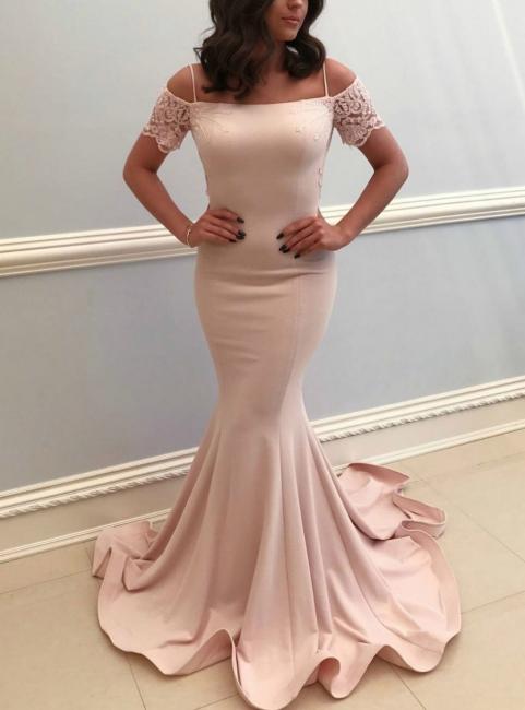 Elegante Rosa Abendkleider Lang Günstig Mit Spitze Ärmel Abiballkleider Günstig
