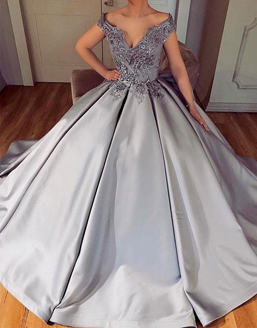 Silver Evening Dresses Long Cheap A Line Satin Prom Dresses Cheap Online