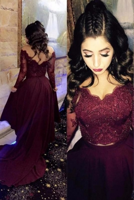 Wine Red Long Sleeves Cocktail Dresses Short With Lace A-Line Chiffon Prom Dresses