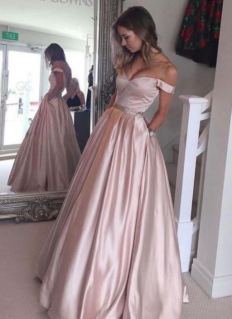 Rosa Abendkleider Lang Satin Schulterfrei Bodenlang Partykleider Abiballkleider