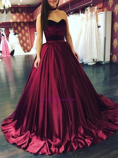 Elegant princess wine red evening dresses long cheap satin prom dresses for sale