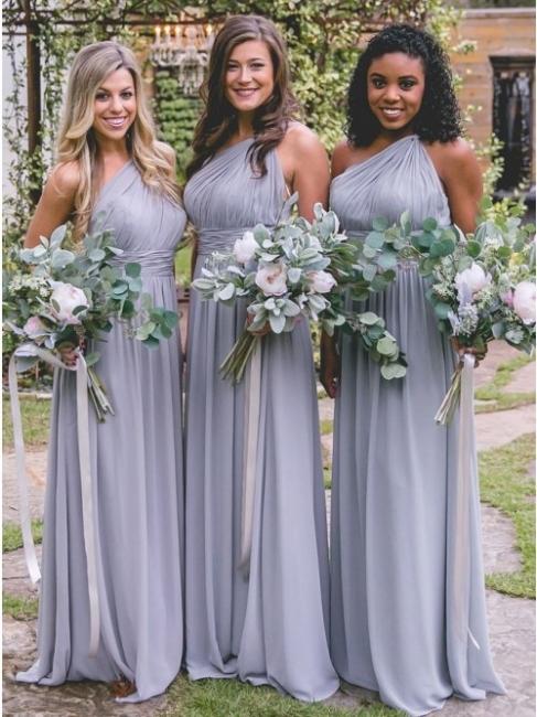 Silber Brautjungfernkleider Lang Günstig | Chiffon Kleider Brautjungfern