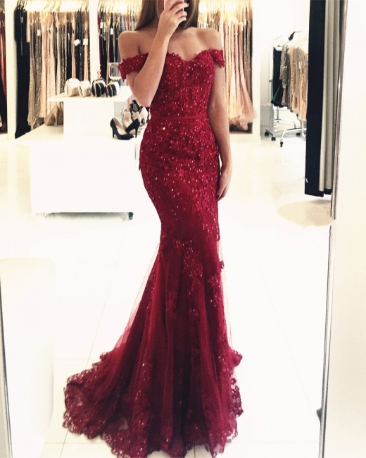 Red Long Evening Dresses Lace Beaded Off Shoulder Mermaid Prom Dresses Party Dresses BA3809