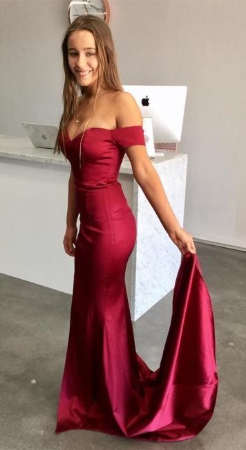 Schlicht Rote Abendkleider Lang Günstig Satin Abiballkleider Ballkleider Online