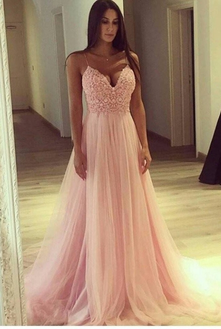 Pink Evening Dresses Lace Spaghetti Straps A Line Tulle Evening Wear Prom Dress