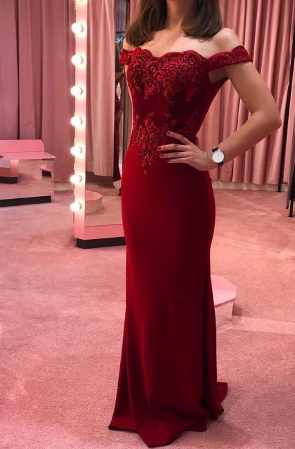 Simple evening dresses long red | Party dresses online with lace