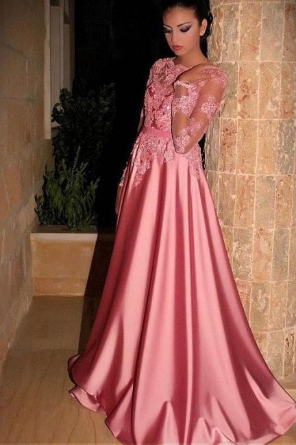 Fashion Abiballkleider Lang Rosa | Abendkleider mit Ärmel