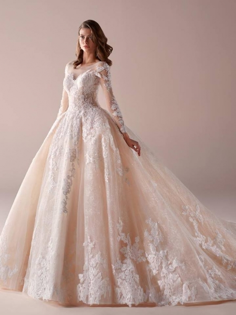 Fashion wedding dresses with sleeves a line wedding dresses cheap online