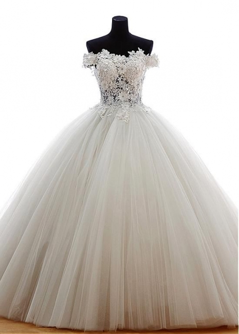 New Wedding Dresses Princess Tulle Floor Length Bridal Gowns With Lace