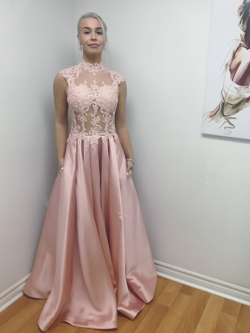 Elegant evening dresses long cheap pink with lace prom dresses online