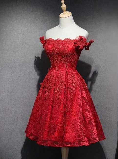 Cheap Cocktail Dresses Short Red Knee Length A Line Lace Prom Dresses