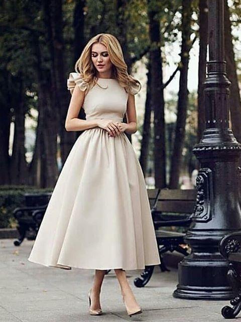 Elegant Kurze Brautkleid Creme A Linie Kinelange Hochzeitskleider Online