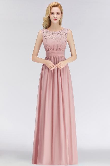Elegant Altrosa Brautjungfernkleider Chiffon Lang Pink Kleider Brautjungfern