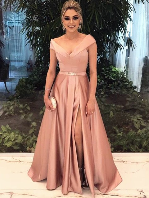 Cheap Evening Dresses Long Dusty Pink A Line Evening Wear Party Dresses