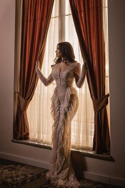 Designer prom dresses long glitter | Evening dresses with sleeves