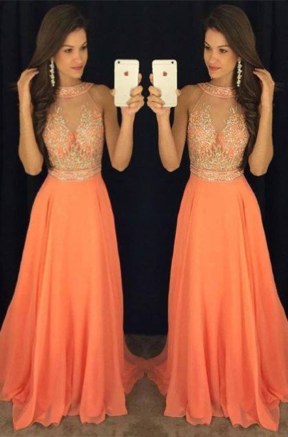 Orange Lange Abschlussballkleider Abendkleider Perlen Chiffon A linie Abendmoden