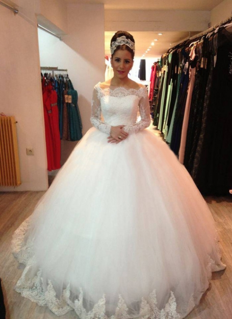 Elegant White Wedding Dresses Long Sleeves Princess Wedding Gowns With Lace