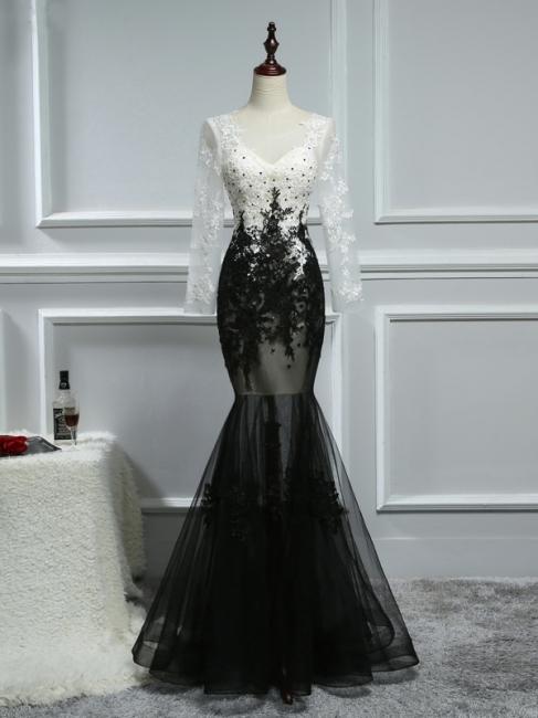 Elegante Weiße Schwarze Abendkleider Mit Ärmel Lange Abendmoden Spitze Online