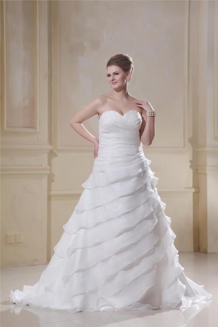 Luxury White Wedding Dresses Big Size Heart Organza Plus Size Wedding Gowns