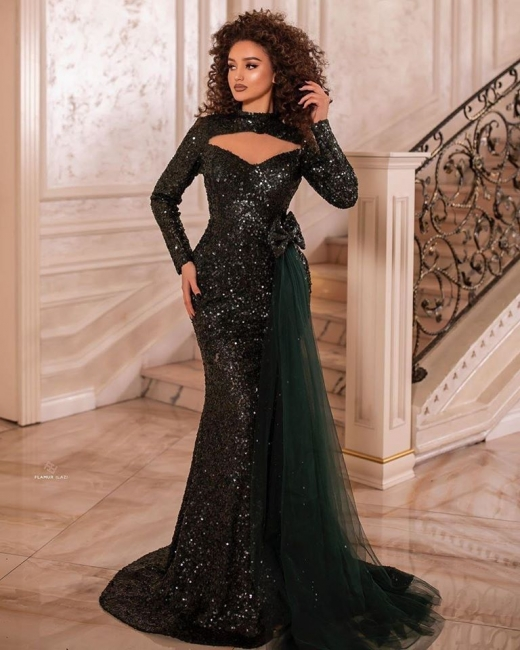 Elegant evening dresses long glitter | Prom dresses with sleeves