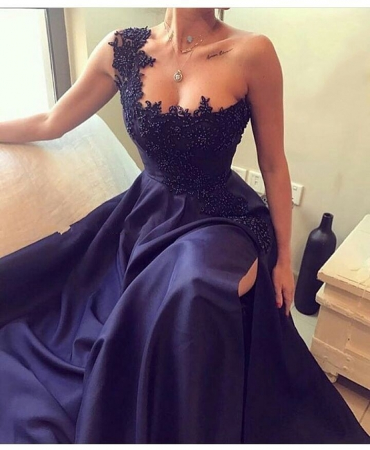 Dark Navy Blue Evening Dresses Long Cheap With Lace Chiffon Prom Dresses Online
