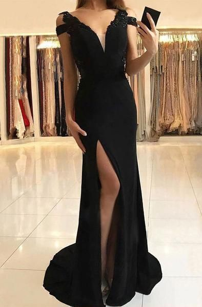 Simple evening dresses long black | Chiffon dresses online