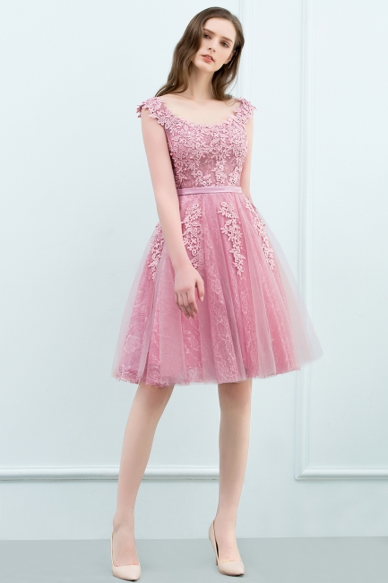 Simple Cocktail Dresses Short Pink With Lace A Line Evening Wear Prom Dresses