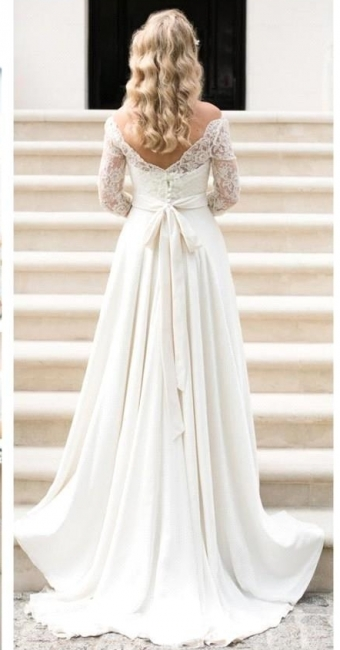 Ivory Wedding Dresses With Sleeves Lace Satin Bridal Gowns Bridal