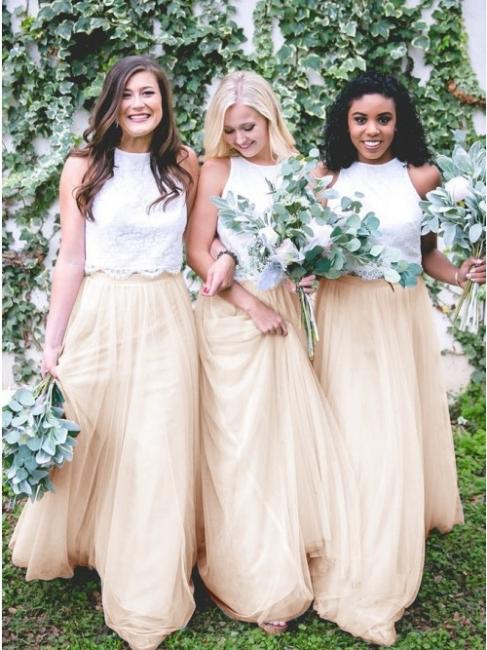 Weiße Brautjungfernkleider Lang | Kleid Brautjungfer Online