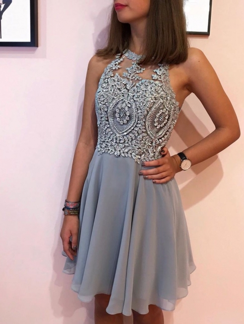 Designer cocktail dresses short | Silver prom dresses with lace