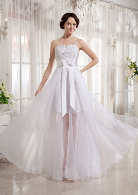 Elegant Wedding Dresses Long Ivory Organza Sheath Dress Bridal Wedding Dresses
